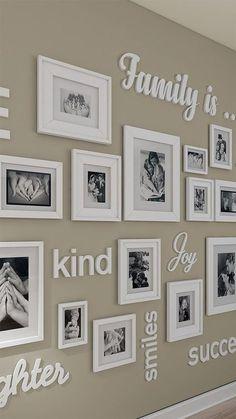Photo Wall Decor, Family Wall Decor, Unique Wall Decor, Hallway Wall Decor, Family Wall Quotes, Family Theme, Cheap Wall Decor, Wall Letters Decor, Dyi Wall Decor