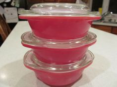 """3 Vtg Pyrex Pink Flamingo Mini Round Casseroles 8 oz Bowl.   Did someone actually combine the words """"pink flamingo"""" with """"pyrex?"""" Be still my heart."""