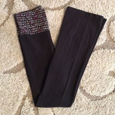 Victoria's Secret fold over yoga pants size XS Victoria's Secret yoga pants size XS. Folds at top... Looks great and gives a slimming look! Super comfy! Victoria's Secret Pants