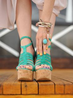 want. Love everything about these. Turquoise color, strappy ankles & high wedge