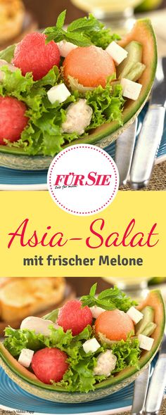 Unser Rezept für Asiatischen-Melonensalat ist ein Hingucker egal ob zur Grillparty, beim Picknick oder als leichtes Essen an heißen Tagen! Superfood, Asia Salat, Salads, Vegetables, Fitness, Fruit Salad, Grill Party, Watermelon, Don't Care