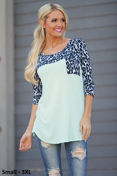 Whatever It Takes Top - Mint Leopard from Closet Candy Boutique