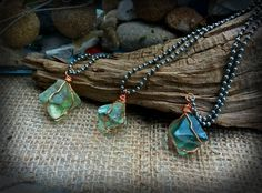 Raw Fluorite Octagon Crystal Handwrapped in Copper Wire by SaracenProvisions on Etsy