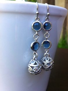 Montana Blue Long Drop Silver Earrings Dangle by MiaCocoDesigns, $32.00