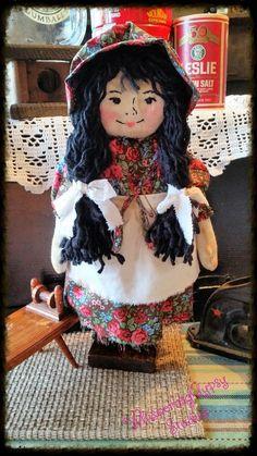 Primitive rag doll rag doll softie handmade by WhisperingGypsy