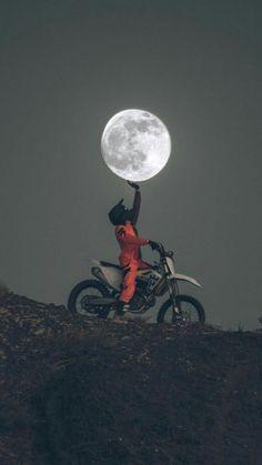 Photography - Moon - dirtbike - motocross - Motocross❤I love Cross - Motorrad Gp Moto, Moto Bike, Motorcycle Art, Motorcycle Outfit, Enduro Motorcycle, Motorcycle Camping, Motorcycle Quotes, Bike Art, Camping Gear