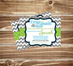Frogs and Snails and Puppy Dog Tails Invitation, Baby Boy Shower, Chevron, That's What Little Boys are Made of! Customizable Colors!