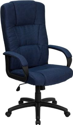 Flash Furniture BT-9022-BL-GG High Back Navy Fabric Executive Office Chair, Blue - http://yapiver.com/chair/flash-furniture-bt-9022-bl-gg-high-back-navy-fabric-executive-office-chair-blue/