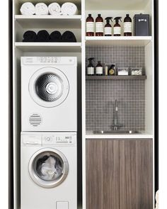 #laundryroom #compact #storage #interior #design #cityliving #dontmixthewhites…