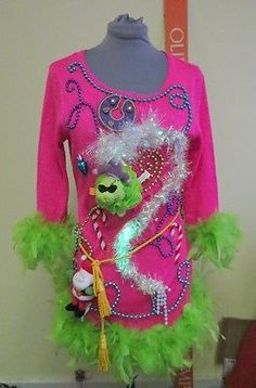 Grinch Sexy Foo Foo Tacky Ugly Christmas Sweater Mini Dress L Lite Up Singing   eBay BY TACKYUGLYCHRISTMASSWEATERS.COM,