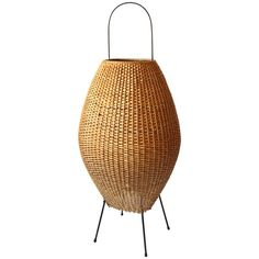 Rare Huge Wicker Floor Lamp in the Style of Tony Paul, 1950s, USA | From a unique collection of antique and modern floor lamps at https://www.1stdibs.com/furniture/lighting/floor-lamps/
