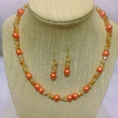Jasmine 16' Choker  Coral Glass Pearls, Beige Champ and 22k Gold Beads
