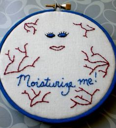 """Moisturize me!"": The constant plea of Dr. Who's Lady Cassandra captured in embroidery"