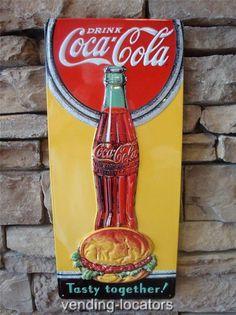 Embossed DRINK COCA COLA TASTE GOOD TOGETHER Metal SIGN. Vintage Style