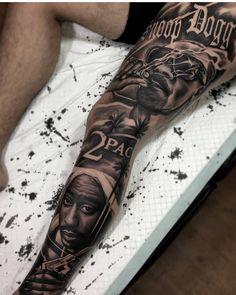 Tupac tattoo on leg was a good idea Portrait Tattoo Sleeve, Leg Sleeve Tattoo, Leg Tattoo Men, Tattoo Sleeve Designs, Tattoo Designs Men, 2pac Tattoos, Gangster Tattoos, Body Art Tattoos, Cool Tattoos