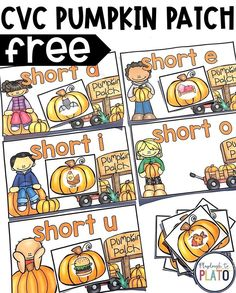 What a fun CVC game for kindergarten or first grade. Kids would love playing this as a literacy center or word work station. It would be a great Daily Five activity too! Short Vowel Activities, Word Family Activities, Phonics Activities, Literacy Activities, Short Vowel Games, Centers First Grade, Kindergarten Games, Preschool, Fall Words