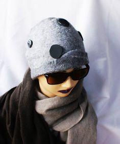 Light Grey Hat with Dark Grey Decor Wool Felted Hat Norwegian Wool OOAK Hat Felted hats Unique Felt Beanie Designer Hat Handmade Eco Fashion Felt Hat, Wool Felt, Grey Hat, Fiber Art, Dark Grey, Trending Outfits, Hats, Vintage, Decor