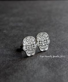 Sugar Skull earrings, Calaveras line. via Etsy