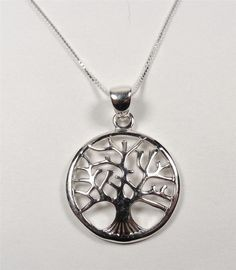 STERLING SILVER CIRCLE OF LIFE TREE NATURE EARTH LIFE PENDANT NECKLACE