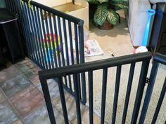 Wood, PVC pipe, spray paint and BAM! New baby/dog gate for around 50 dollars