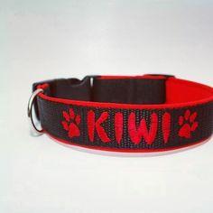 Obojek s vyšitím   Collar with embroidery by Blackberry #collar #embroidery #kiwi #customized #obojek #vysiti #cerna #black #blackberry