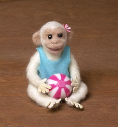 White Needle-Felted Miniature Chimpanzee by DinkyWorld on Etsy