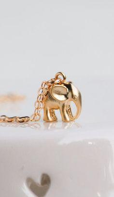 Tiny Gold Elephant Necklace Good Luck Charm
