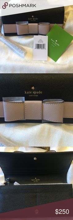 Authentic Kate spade Kirk Park Saffiano Linney Black and Mousse Frosting oversized wallet. Original packaging! kate spade Bags Clutches & Wristlets