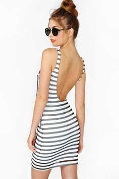 Absolutely no way this backless thing is happening, but dang this is cute (Static Stripe Dress   Nastygal)