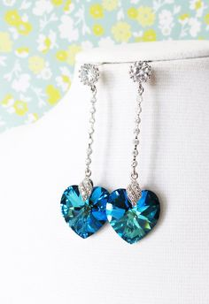 Bermuda Blue Swarovski Heart Crystal Earrings, Cubic Zirconia bridal brides something blue love heart Earrings, wedding, gifts,  by GlitzAndLove, www.glitzandlove.com