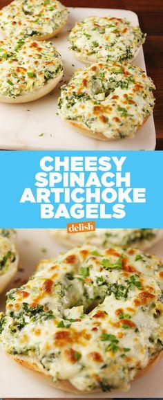 Cheesy Spinach Artichoke Bagels Delish