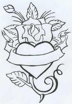 50 Rose Tattoos Meaning Tattoo Design Drawings, Pencil Art Drawings, Easy Drawings, Drawing Sketches, Tattoo Designs, Skull Coloring Pages, Heart Coloring Pages, Coloring Books, Colouring