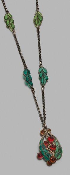 COMTE DU SUAU DE LA CROIX - An Art Nouveau silver and plique-à-jour enamel necklace, French.