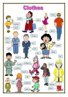 Clothes 1 - English ESL Worksheets for distance learning and physical classrooms English Verbs, Kids English, English Study, English Lessons, English Vocabulary, Learn English, English Adjectives, English English, English Language Learning