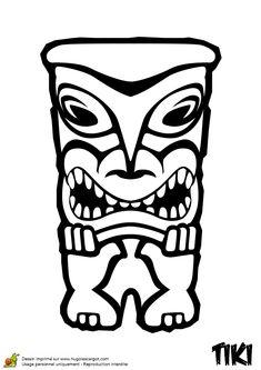 Coloriage de Tiki qui porte chance Décor Tiki, Totem Tiki, Tiki Pole, Tiki Art, Totems, Coloring Sheets, Coloring Pages, Bars Tiki, Tiki Faces