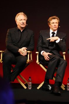 Alan Rickman and Colin Firth. Phenomenal artists, both. British Men, British Actors, The English Patient, Alan Rickman Severus Snape, Mr Darcy, Colin Firth, Ares, Kingsman, Jane Austen