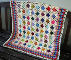 Crochet Baby Afghan Blanket Miniature GRANNY by Thesunroomuk