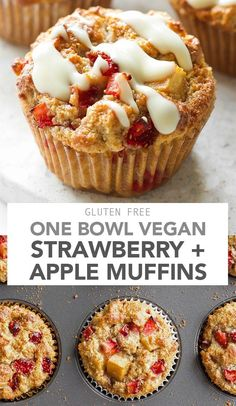 One Bowl Vegan Strawberry and Apple Muffins One Bowl Vegan Strawberry Apple Muffins - A one bowl recipe making it super easy to whip up! These are soft, moist and the perfect flavour combination of strawberry + apple. Desserts Végétaliens, Vegan Dessert Recipes, Vegan Breakfast Recipes, Almond Recipes, Gluten Free Recipes, Baking Recipes, Vegan Breakfast Muffins, Strawberry Recipes Vegan, Dinner Recipes