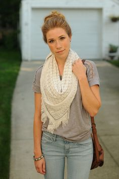 crocheted top + boho scarf + washed-out flares. and the hair, too!