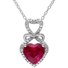 Lab-Created Ruby & Diamond Accent Sterling Silver Infinity & Heart... ($96) ❤ liked on Polyvore featuring jewelry, necklaces, red, infinity necklace, ruby pendant, sterling silver chain necklace, heart pendant and heart shaped necklace