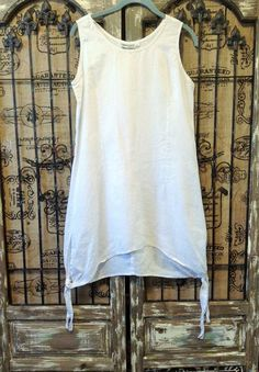 Simply Greta 100% Linen Asymmetrical Lagenlook Sleeveless Tunic Dress Top M #SimplyGretaInternational #Lagenlook #Any