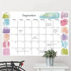 Splash Academic 2017-2018 Calendar Whiteboard/Chalkboard Wall Decal
