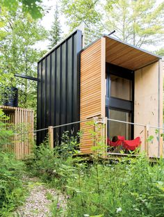 A father and son built an off-grid cabin in the Wisconsin woods.