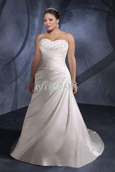 Gesticktes Seite drapiertes klassisches formelles bodenlanges Brautkleid für Übergröße