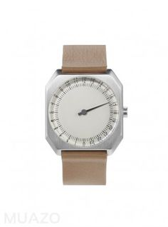 Slow JO 24 Hour One Hand Watch Cream Dial Silver Case Beige Leather Band