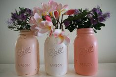 Mason Jars hand painted in a beachy shabby chic effect perfect for your home or wedding