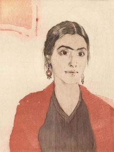 Maria as Frida, Forty Fridas ~ Woodcut Etching ~ Ellen Heck