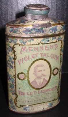 Mennen Violet Talcum Toilet Powder Early RARE Violet Pattern Tin ©1910 Full | eBay