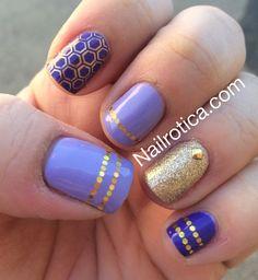 Violet & gold nails