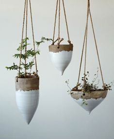 Jute Hanging Planter Studios White - Planters - ideas of Planters Ceramic Planters, Planter Pots, Indoor Planters, Vertical Planter, Plants Indoor, Wall Planters, Air Plants, Tomato Planter, Wall Vases